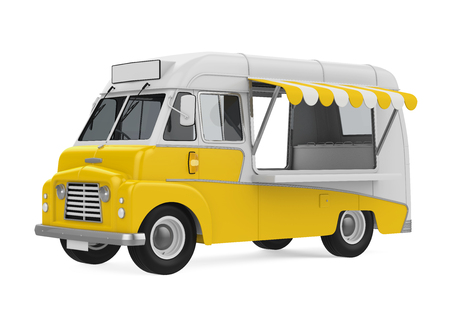 yellow car: Yellow Food Truck Isolated