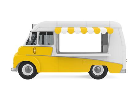 Gele voedsel vrachtwagen geïsoleerd Stockfoto - 74473044