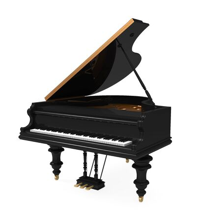 Black Grand Piano Isolated