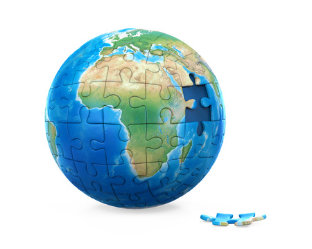 Puzzle Planet Earth Stock Photo