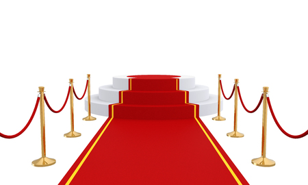 velvet rope barrier: Podium with Red Carpet