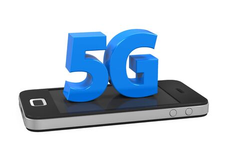 5g: 5G Sign on Mobile Phone Isolated Stock Photo