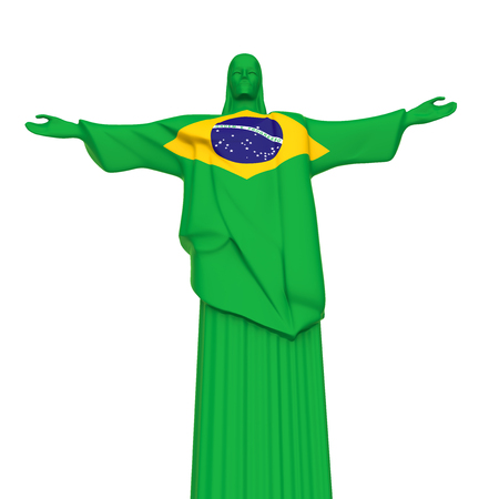 Christ the Redeemer Statue with Flag of Brazil