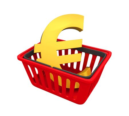 Shopping Basket with Euro Sign Stock Photo