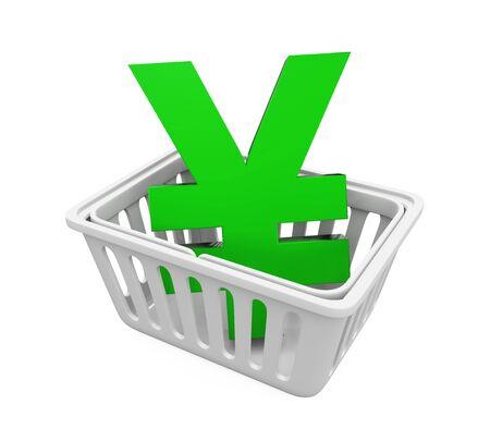 Shopping Basket with Japanese Yen Sign