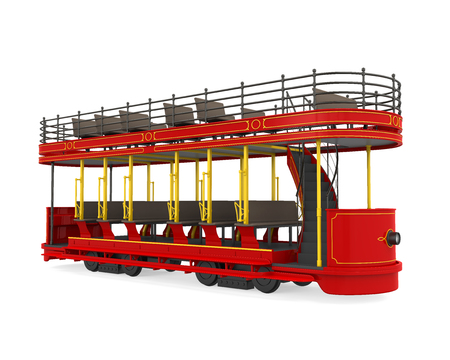 Double Decker Tram Isolated