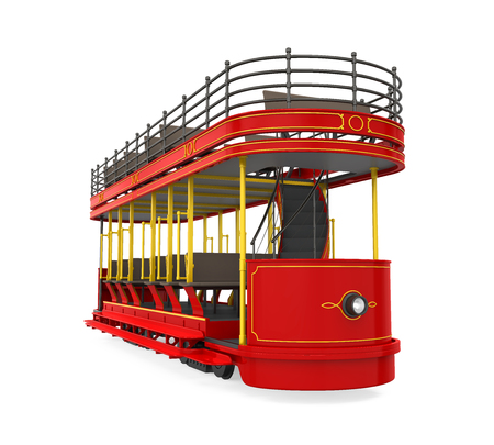 tramcar: Double Decker Tram Isolated