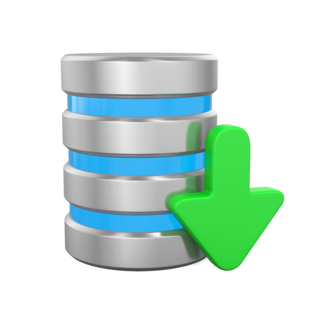 Database Icon with Download Arrow Stock Photo