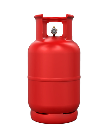 Red Gas Cylinder Isolated