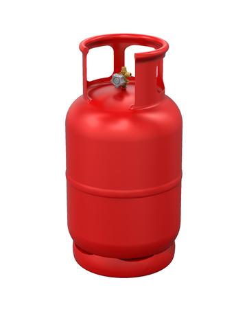 Cilindro de gas rojo aislado