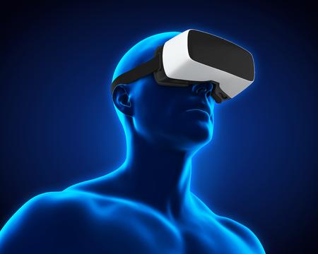 Human Wearing Virtual Reality Headset Stock Photo - 77825707