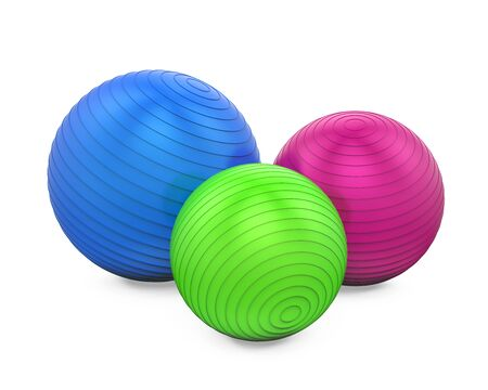 gym equipment: Colorful Fitness Balls Isolated