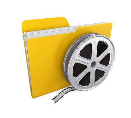 Movie Folder and Film Reel Isolated Stock Photo