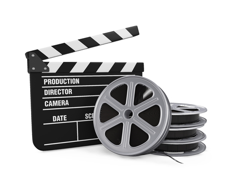 Clapper Board and Film Reel Stock Photo
