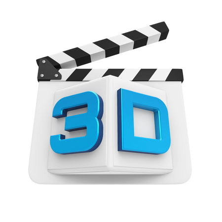 movie film: 3D Text and Clapper Board Stock Photo