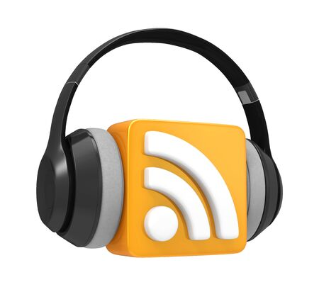 xml: RSS Symbol with Audio Headphones Stock Photo