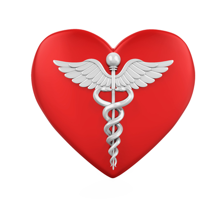 Heart Shaped with Caduceus Medical Symbol Stock Photo