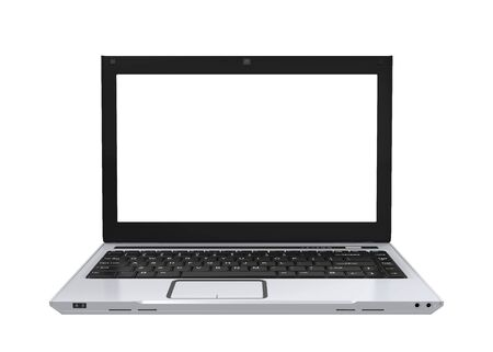 pc: Laptop with Blank White Screen Isolated