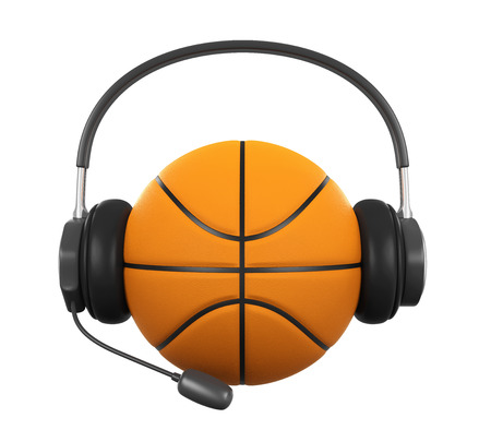 Basketball Ball with Headset Isolated