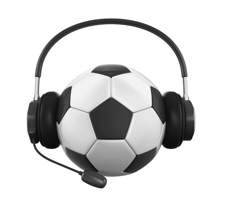 telephone interview: Soccer Ball with Headset Isolated