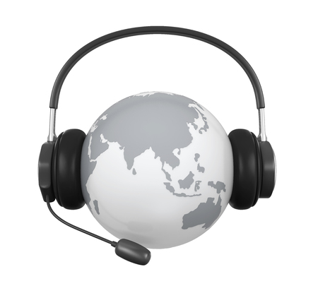 Globe with Headset Isolated