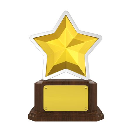 Golden Star Trophy Isolated