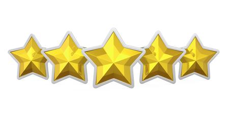 star award: Five Golden Stars Isolated