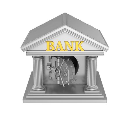 pillar box: Bank Building with Vault Door Isolated