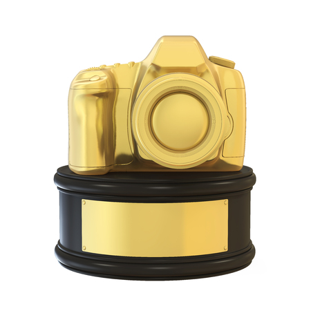 Photography Camera Trophy Award Isolated Stock Photo