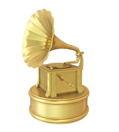 Music Gramophone Trophy Award Isolated Stock Photo