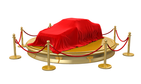 Presentation of the New Car on Stage with Barrier Rope