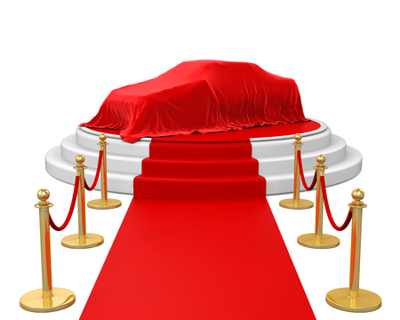 velvet rope barrier: Presentation of the New Car on Stage with Barrier Rope