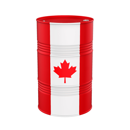 Canadian Flag Oil Barrel Stock Photo