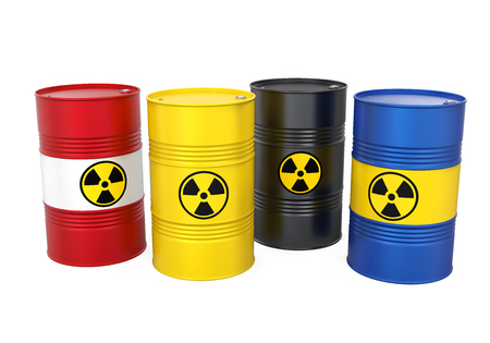 Radioactive Barrels Isolated Stock Photo