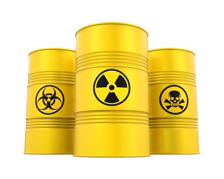 Biohazard, Radioactive and Poisonous Barrels Isolated Stock Photo
