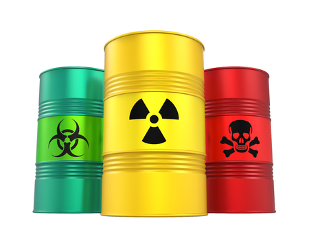 Biohazard, Radioactive and Poisonous Barrels Isolated Foto de archivo