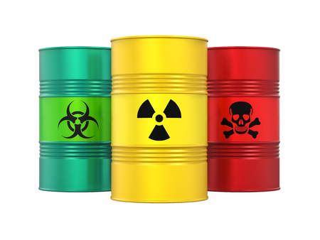 Biohazard, Radioactive and Poisonous Barrels Isolated Stok Fotoğraf