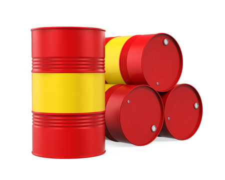 steel drum: Red Oil Drum Isolated