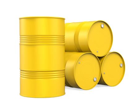 分離された黄色いドラム缶
