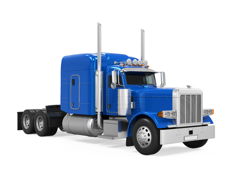 Blue Trailer Truck Isolated Stock Photo