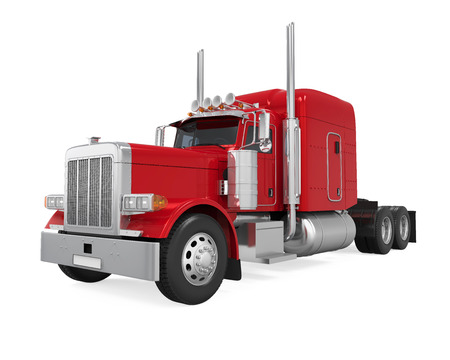 Red Trailer Truck Isolated Stock Photo