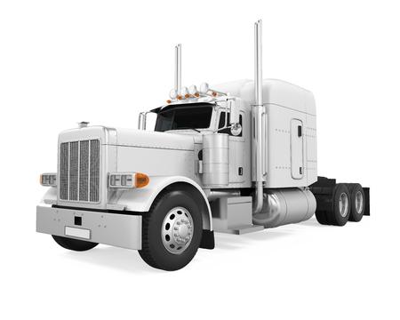 White Trailer Truck Isolated Stock Photo