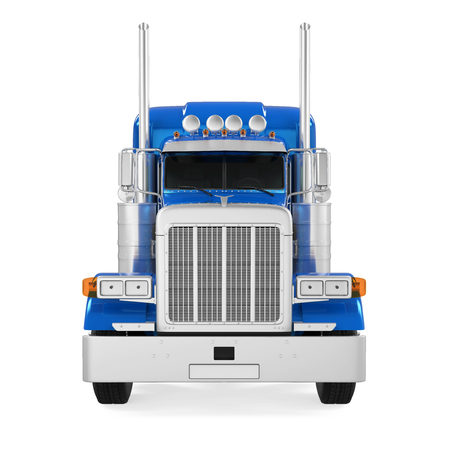 haul: Blue Trailer Truck Isolated Stock Photo