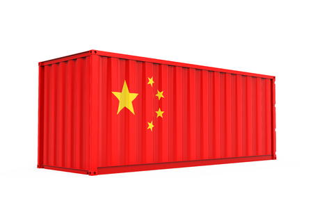 warehouse: Container with China Flag Isolated