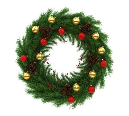 tree isolated: Christmas Wreath Decoration Isolated
