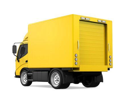 Yellow Delivery Van Isolated Stock Photo