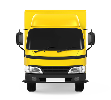 shipments: Yellow Delivery Van Isolated Stock Photo