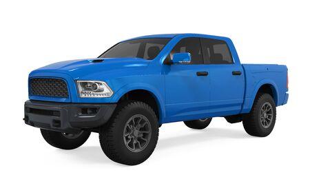 Blauwe pick-up geïsoleerd Stockfoto