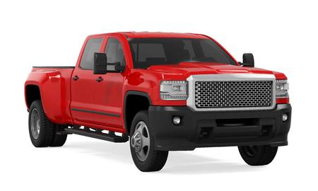 分離の赤いピックアップ トラック