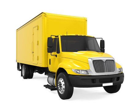 unloading: Cargo Delivery Truck Isolated Stock Photo